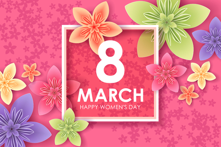8 March holiday. Origami greeting card with paper flowers. International Happy Womens Day. Vector eps10 Illustration
