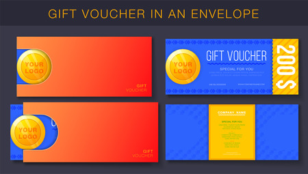 Creative design of gift voucher with envelope.