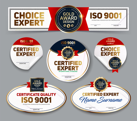 Set of vector mini certificate quality banners with line protection and gold award emblem, ISO 9001 certified, Vector illustration