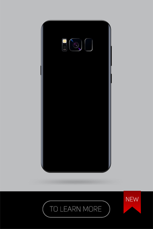 Vector smartphone, new version of modern mobile phone on black color isolated on grey background, back side, Realistic illustration phone. Ilustração