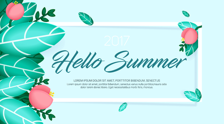 Hello summer banner with natural exotic leaves and flowers. Vector Illustration EPS10
