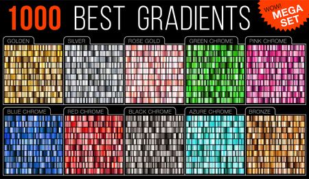 Vector mega set of gradients. Big collection colorful metallic gradient illustration. Gold, silver, blue, red, pink, green, azure, bronze.