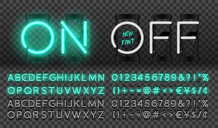 Big turquoise neon set, glowing alphabet, vector Font. Glowing text effect. On and Off lamp. Neon Numbers and punctuation marks. isolated on transparent background.