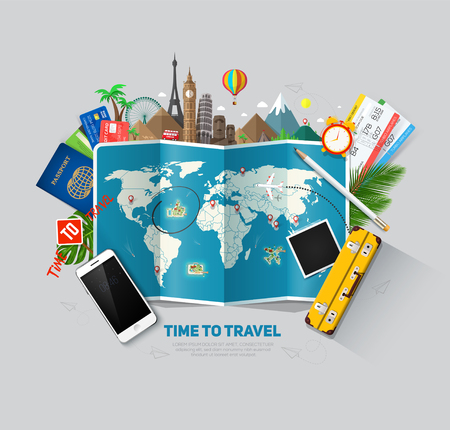 Travel and tourism background. Travel concept, ready for Summer. Top view. Concept website template. Vetores