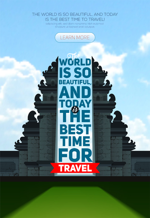 Vector poster with Hindu temple Pura Besakih. Bali. Indonesia, Best time to travel  イラスト・ベクター素材