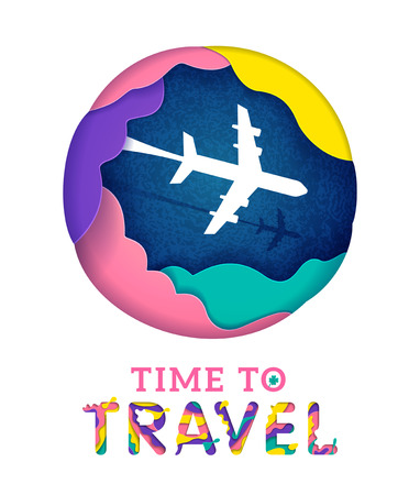 Colorful Time to travel banner with abstract paper cut cloud. Origami paper cut style vector illustration.