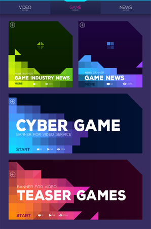Colorful cyber game banners for video services or games news. Pixel style vector illustration
