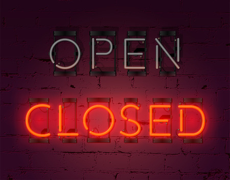 Neon Closed sign on brick wall background. Realistic glowing neon inscription.