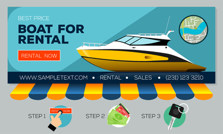 Web banner with motor yacht for sale or rental. Buying or rent motorboat online. Vector illustration Ilustração