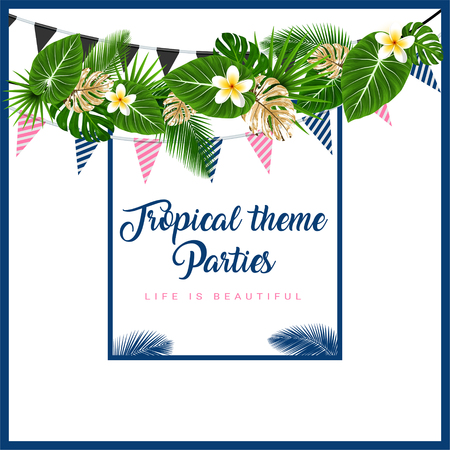 Poster or Invitation card with tropical themed garland with palm leaves, flowers, flags. Vector illustration