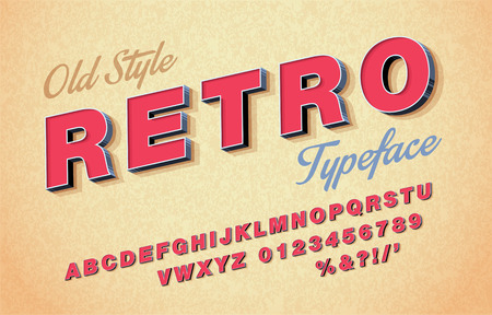 Retro font and alphabet in 3d Italic style vector.