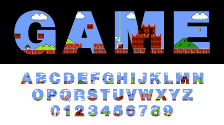 Font and alphabet stylized on old video game. Retro style font vector. Иллюстрация