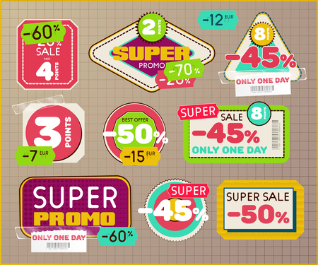 Set of vintage retro labels and tags with Scotch tape and price tag. Sale and Discount badges for super promo. Vector eps10 Illustration