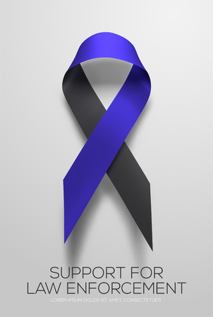 Black-blue ribbon symbolic of support for law enforcement.