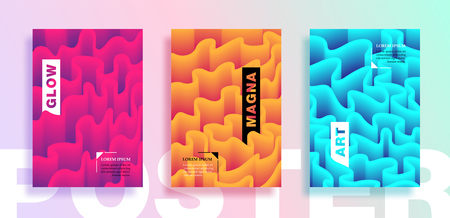 Posters or Covers with liquid wavy lines. Placards, Flyers and Banner Designs. Vector illustration. 일러스트