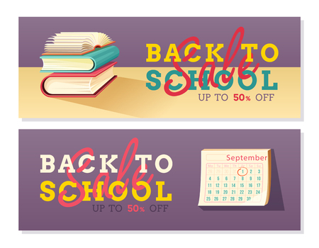 Two back to school banners with Pile of books and calendar. 50% sale and discount