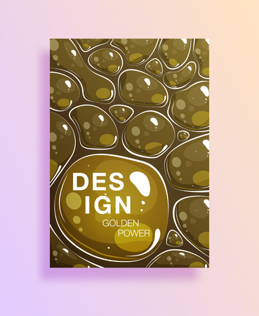 Poster with clean waters drops or cover with soap bubble. Transparent drops with reflection on gold background.