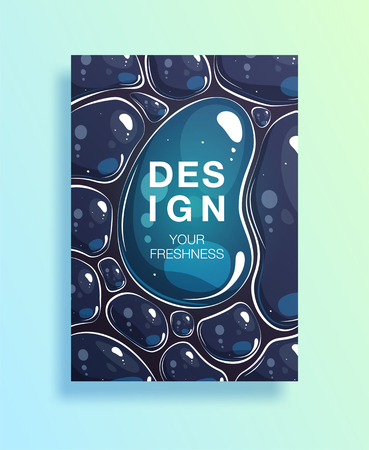 Poster with clean waters drops or cover with soap bubble. transparent drops with reflection on dark-blue background for flyers, card, brochure, web design, vector illustration. EPS10