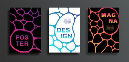 Covers or posters set with dark spot on colorful gradient background. Abstract bright grid design for flyers, card, brochure, web, vector illustration. Colored sticky liquid. EPS10 Ilustração