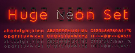 Mega huge neon set glowing alphabet with upper and lowercase letters, vector Font. Glowing text effect. On and Off lamp. Neon Numbers and punctuation marks. isolated on red background. Illustration