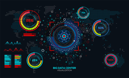 Abstract Big data visualization. Analysis of Information big data connection complex. Futuristic infographic. Information aesthetic design with diagram, dot map and loading bars.