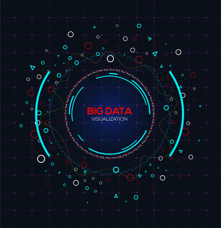 Abstract Big data concept. Analysis of Information big data connection complex. Futuristic infographic. Information aesthetic design with fractal emblem.