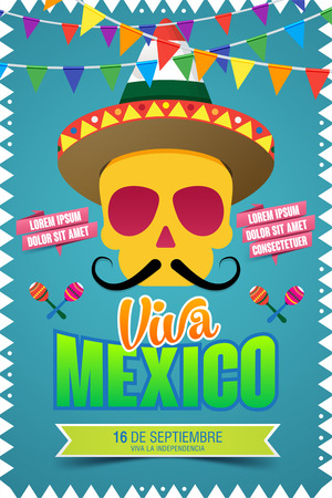Viva Mexico, traditional mexican holiday, Happy Independence day illustration with skull, hat and maracas. vector illustration
