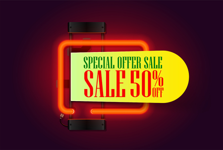 Sale banner with red neon lights lamp and piece of paper for your offer text. retro sale and discount banner. Vector illustration