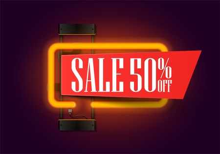 Sale banner with orange neon lights lamp and piece of paper for your offer text. retro sale and discount banner. Vector illustration