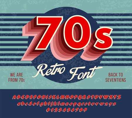 Retro alphabet with a harsh color gradation effects. Red font from 70's. vector illustration