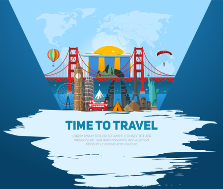 Time to travel concept. Banner with miniature places and landmarks. Vector illustration. Worldwide traveling.