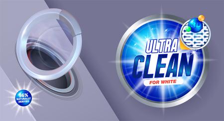 Lavage ultra propre. Modèle pour détergent à lessive. Conception d'emballage pour lessive en poudre et détergents liquides. Illustration vectorielle