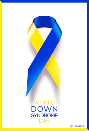 Social poster World Down Syndrome Day. Awareness ribbon. Vettoriali