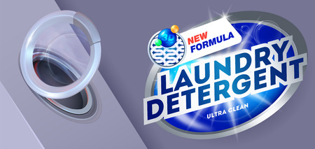 Laundry detergent for ultra clean washing.Template for laundry detergent. Package design for Washing Powder & Liquid Detergents. Vector illustration