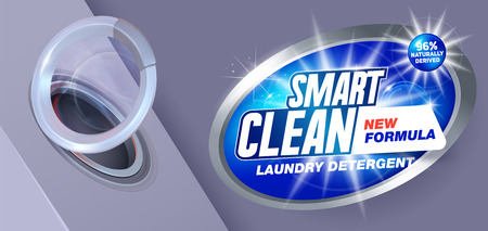 Smart clean washing.Template for laundry detergent. Package design for Washing Powder & Liquid Detergents. Vector illustration