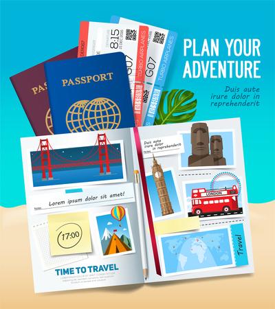 Pianifica la tua avventura, elegante banner di viaggio con album aperto, passaporto, foto, note e adesivi. Concetto di bandiera di viaggio. Vettore