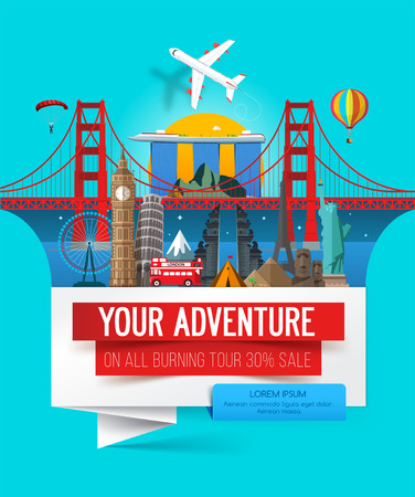 Adventure banner, Stylish trip banner with a set of places of interest landmarks. Travel banner concept. Vector