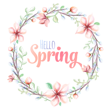 Hello spring hand drawn watercolor illustration. greeting card with watercolor flower wreath. Vector illustration