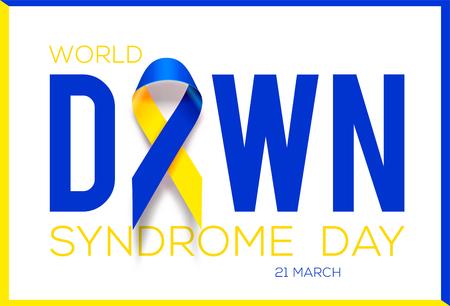 World Down Syndrome Day. Awareness ribbon. Illustration