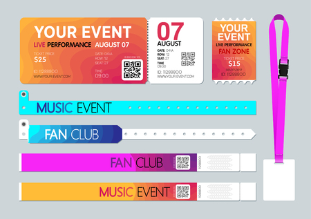 Event entrance Ticket, badge card holder, and bracelets. Live performance entrance. Access control design for Dance, Music, festivals, private areas, concerts or party events. Vector Illustration