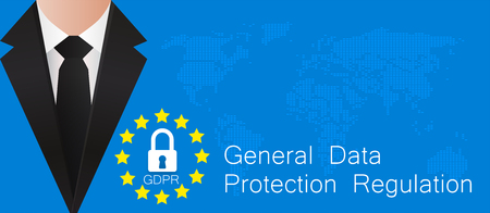 General Data Protection Regulation. European GDPR concept flyer template. Vector illustration