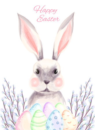 Happy easter poster, hand drawn watercolor illustration. watercolor eggs, bunny and pussy willow branches. Vector illustration