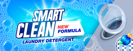 Laundry detergent for smart clean. Template for laundry detergent. Package design for Washing Powder & Liquid Detergents ads. Vector illustration