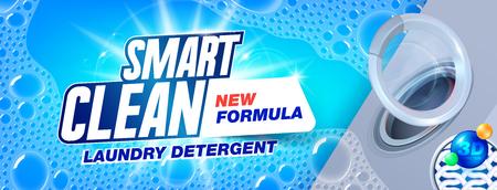 Detergente para ropa para una limpieza inteligente. Plantilla para detergente para ropa. Diseño de paquete para anuncios de detergentes líquidos y en polvo. Ilustración vectorial Foto de archivo - 108974952