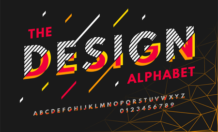 Stylish modern abstract italic font and alphabet with numbers. Vector colorful font from pieces of shapes and strips.