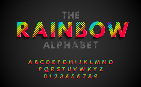 Stylish modern abstract font and alphabet with numbers. Vector colorful rainbow font from strips. Иллюстрация