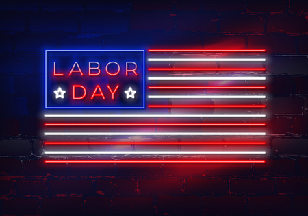 Glowing neon Labor Day sign in the form of a flag of the USA on brick wall background. Vector illustration