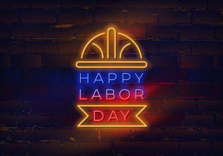 Glowing neon Labor Day sign on brick wall background. Vector illustration