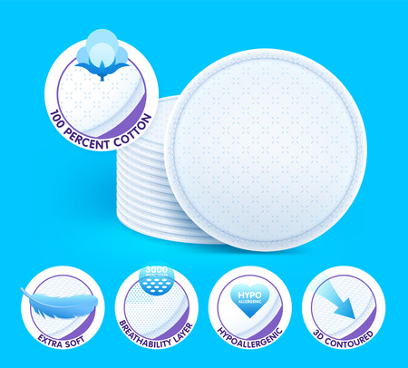 Layered extra soft cosmetic cotton pads while offering excellent non-irritating skin care, protection and comfort. Concept with icons. Vector eps10.
