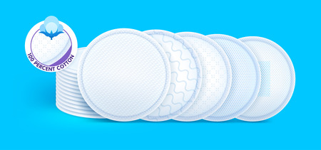 Concept layers with different texture and icons for skin care, cosmetic cotton pads while offering excellent soft protection and comfort. Vector eps10. Çizim